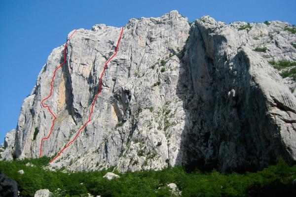 Multi-pitch rock climbing Paklenica