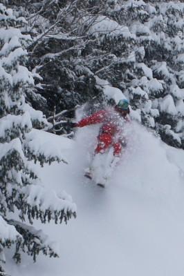 Courmayeur tree skiing in heavy snow fall