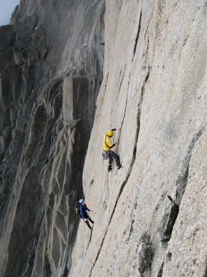 Technical alpine rock climbing