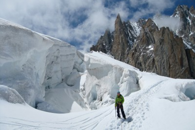 Glacier approach to granite towers