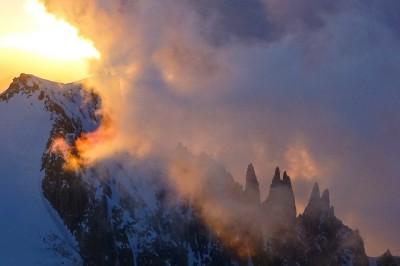 Sunrise behind Mt Blanc du Tacul and Arete du Diable