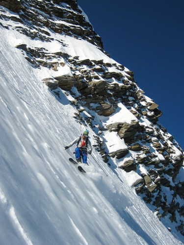Skiing Domes de Miage north face