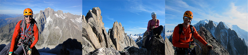 Great views of Aig Vert, Grepon and Mt Blanc from the summit of Pilier Cordier