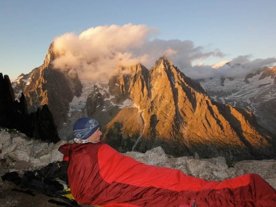 Enjoying the sunset panorama from Le Dru and Aig de Moine