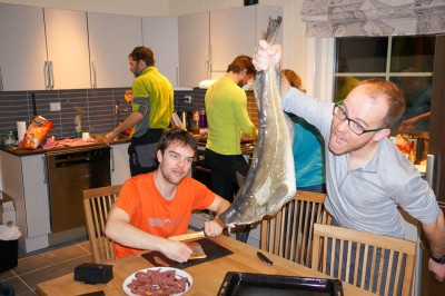 Preparing dinner at our house in Lyngen