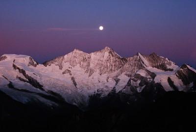 Morning light on the Michabel group, climbing Weissmiess